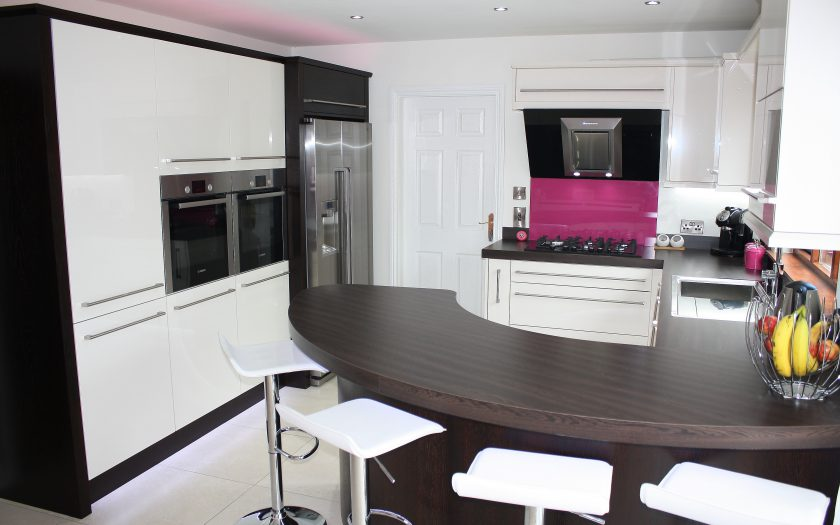 duggan kitchen design with pink panel and lighting
